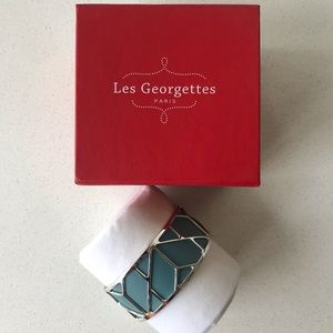 Les Georgette's blue & silver cuff bangle bracelet
